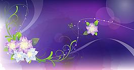 夢幻白色花朵紫底背景