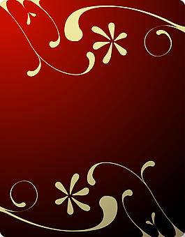 白色花紋紅底背景
