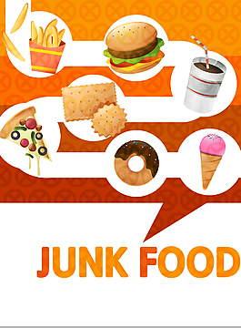 垃圾快餐卡通食物