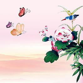 蝴蝶花朵樹葉小鳥素材