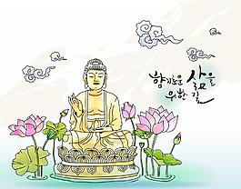 卡通佛教元素