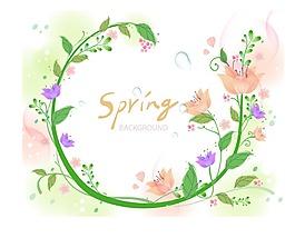 綠色元素花卉素材背景