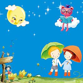 卡通孩童雨傘星星月亮博士熊云朵素材