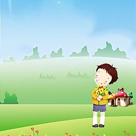 卡通人物鮮花蘑菇房素材