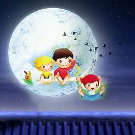 卡通人物小狗月亮星星素材