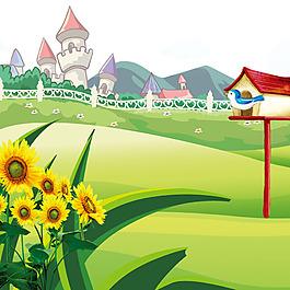卡通向日葵青草樹葉小鳥素材