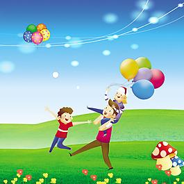 卡通一家人光線光暈氣球花朵青草素材