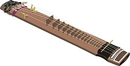 卡通古箏樂器素材設計