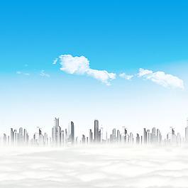 藍天白云高樓大廈云層素材