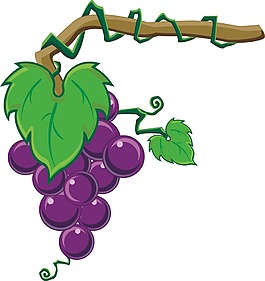 卡通紫色葡萄設計元素