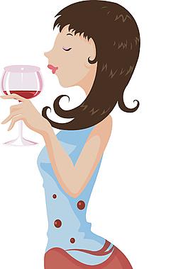 卡通矢量品酒女性人物