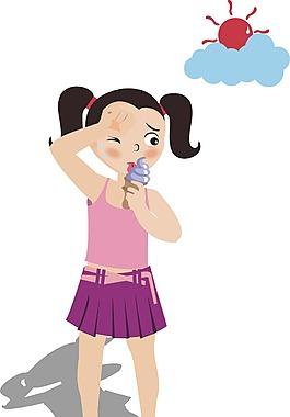 卡通吃冰淇淋的小女孩