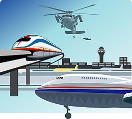 卡通飛機交通工具