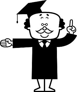 卡通博士帽子素材設計