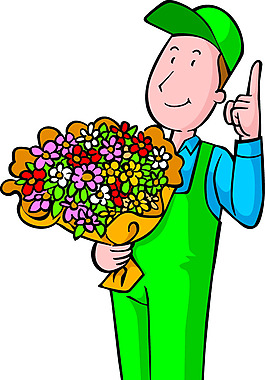 手拿鮮花元素人物