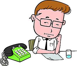 辦公室工作人物電話素材