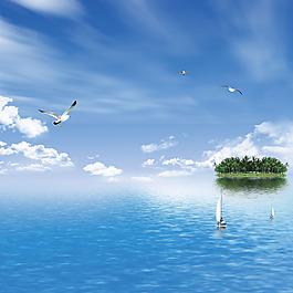 藍天白云海水小島船海鷗素材