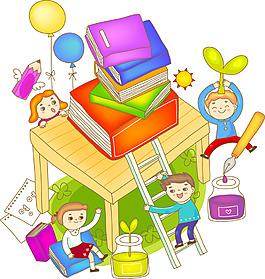 卡通書籍氣球素材
