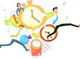 卡通商務人物時鐘素材