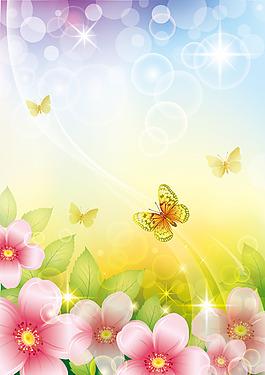 夢幻花朵蝴蝶背景