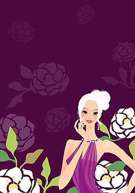 手繪花朵美女背景