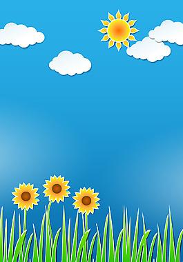 清新陽光向日葵背景