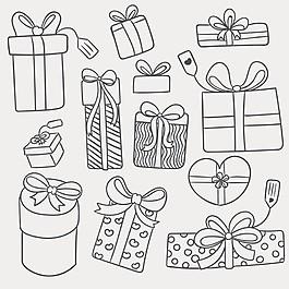 11款手繪節日禮盒矢量素材
