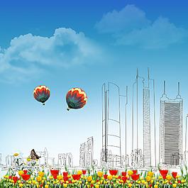 城市環境剪影背景