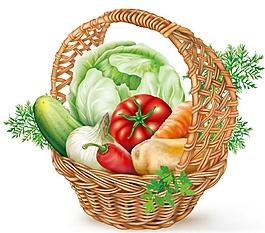 帶蔬菜矢量的籃