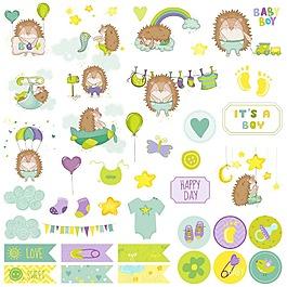 可愛卡通刺猬寶寶矢量素材