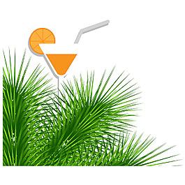夏日果汁樹葉元素