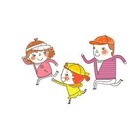 卡通一家人奔跑元素