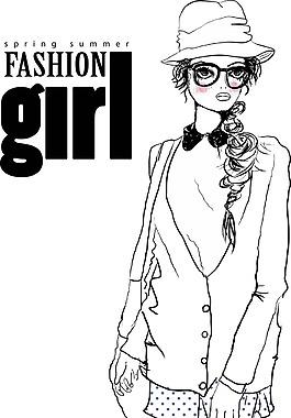 卡通時尚女生矢量素材