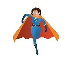 超人女孩卡通形象矢量素材