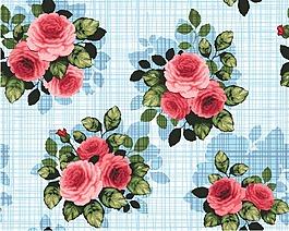 卡通玫瑰花朵矢量素材背景