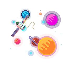 彩色飛船太空元素