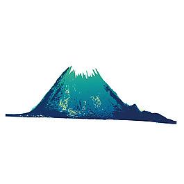 手繪綠色火山元素