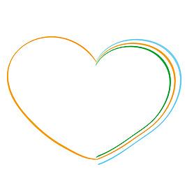 彩虹線條心形元素