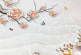 粉紅花朵背景墻圖片