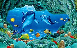 海豚背景墻圖片