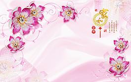 鮮花絲綢背景圖片