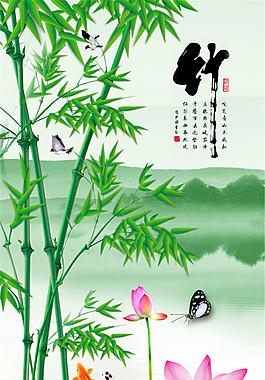 竹子荷花風景圖片