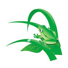 清新綠葉青蛙元素