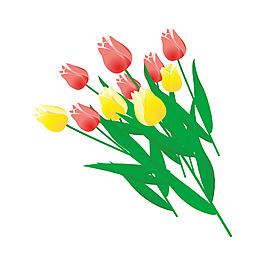 清新郁金香花朵元素