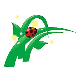 清新綠葉瓢蟲元素