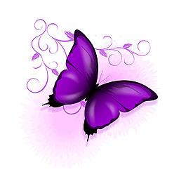 紫色漸變蝴蝶元素