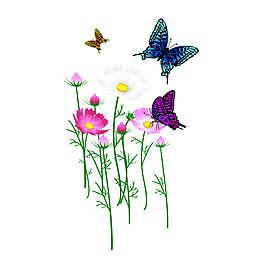 清新花朵蝴蝶元素