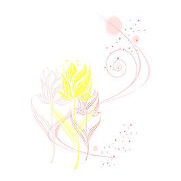 簡約線條花朵元素