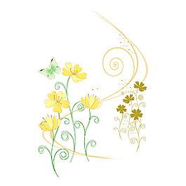 清新花朵矢量元素