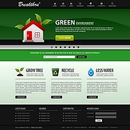 綠色網頁模板背景
